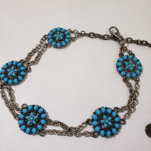 Accessories - Boho style faux turquoise chain belt